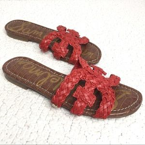 Sam Edelman - Red Woven Slide Sandals